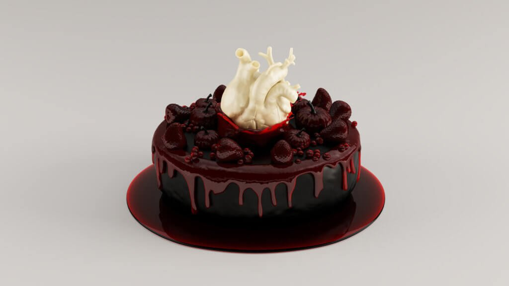 Black Decorated Halloween Cake with White Chocolate Heart and Blood Strawberry Sauce with Small Jam Fondant Strawberries Pumpkins and Berries Luxury Halloween Cake Confection