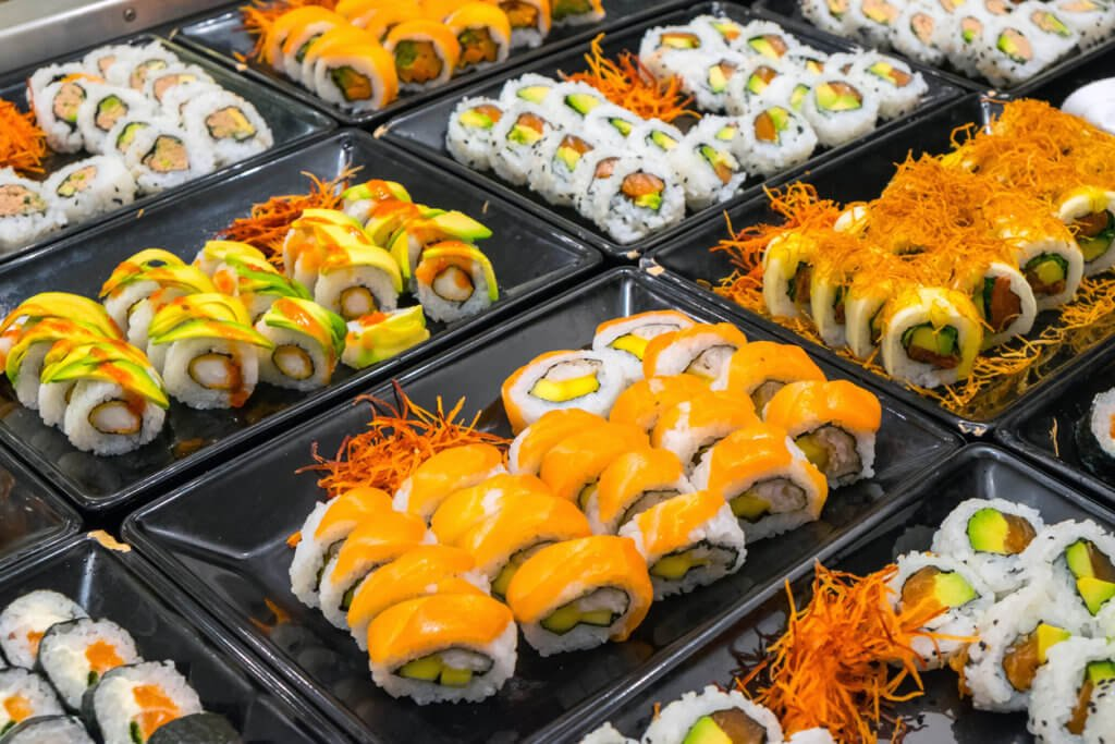 Great variety of sushi rolls.