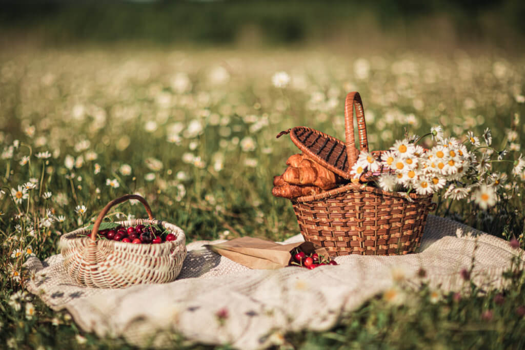 picnic baskets with flowers in a chamomile field.